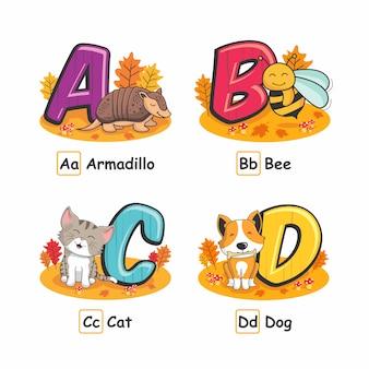 Zwierzęta alfabet jesienne pancernik pszczoła kot pies