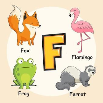 Zwierzęta alfabet litera f.