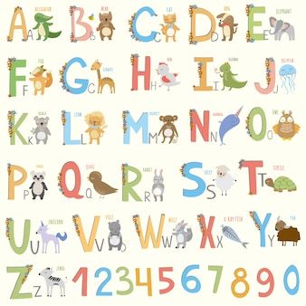 Zwierzęta alfabet projektowe