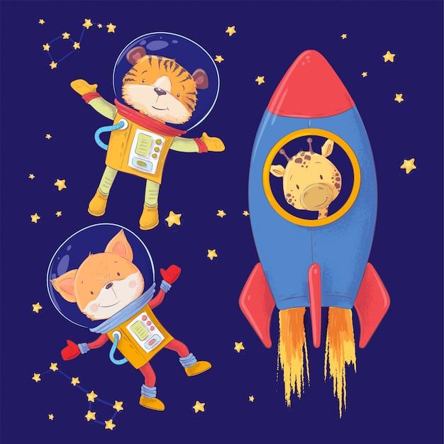Zwierzęta astronautów tygrys lis i żyrafa rysunek odręczny.