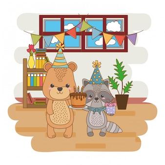 Zwierzęta bajki z okazji urodzin tortu