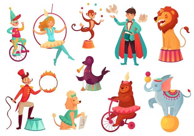 Zwierzęta cyrkowe. akrobatyczne sztuczki na zwierzętach, rozrywkowa akrobata rodzinna w cyrku. ilustracja kreskówka na białym tle