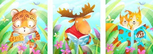 Zwierzęta czytające książkę w lesie wśród zielonych liści i traw, studiujące i uczące się kolekcji plakatów
