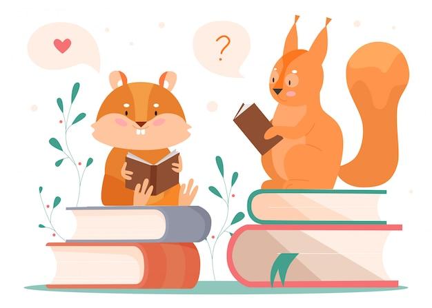 Zwierzęta czytania ilustracji. kreskówka sprytny bóbr i wiewiórka czytelnik książek postacie siedzące na stosie książek, czytające bajkę i myślące, zwierzęca koncepcja na białym