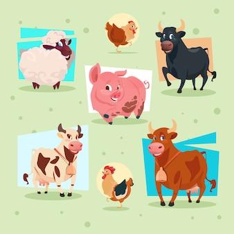 Zwierzęta domowe ikony gospodarstwa rolnego lęgowa płaska wektorowa ilustracja