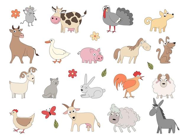 Zwierzęta domowe. ładny zabawny zagroda koń świnia kurczaka kaczka bool i owiec wektor kolorowanie zestaw rysunków. domowa świnia i koza, koń i kurczak ilustracja
