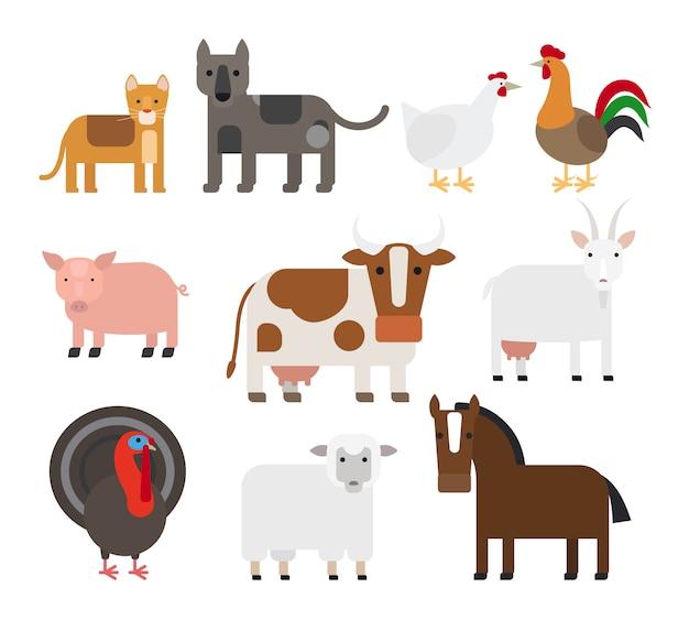 Zwierzęta domowe płaskie wektorowe ikony