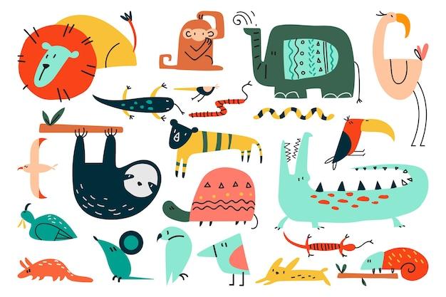 Zwierzęta doodle zestaw na białym tle