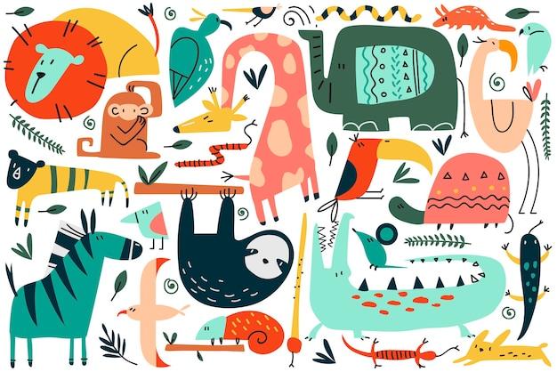 Zwierzęta doodle zestaw. zbiór zabawnych kolorowych postaci z kreskówek słodkie dzikie afrykańskie ssaki safari. ilustracja węży lamparta lwa małpa zebra słonia żyrafa dla dzieci w stylu skandynawskim.