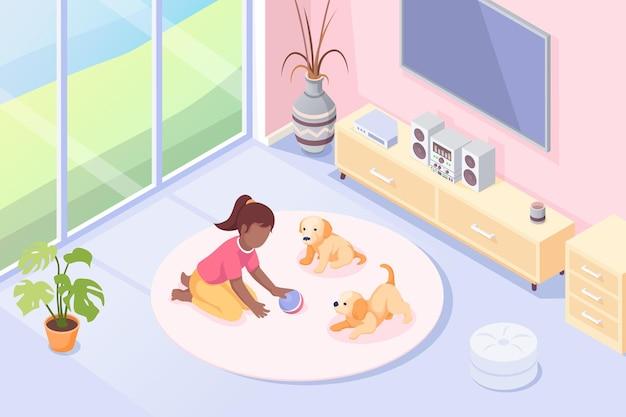 Zwierzęta dziewczyna bawi się z psimi szczeniętami w pokoju izometrycznej ilustracji dziecko dziewczynka z zabawkową piłką i