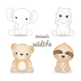 Zwierzęta dzikie zestaw ilustracja kreskówka akwarela