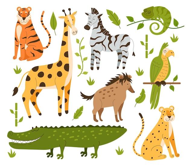 Zwierzęta dżungli ręcznie rysowane w stylu płaski na białym tle zestaw