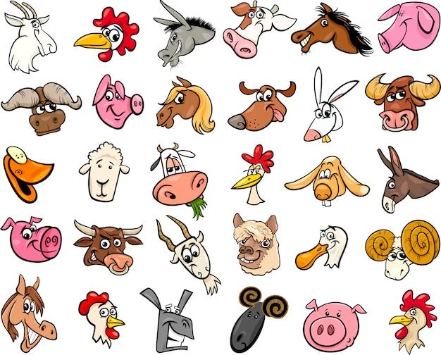 Zwierzęta gospodarskie głowice kreskówka duży zestaw