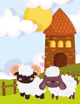 Zwierzęta gospodarskie koza i owca stodoła płot trawa kreskówka