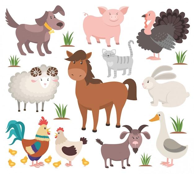 Zwierzęta gospodarskie kreskówek. indyk kot baran koza kurczak królik koń.