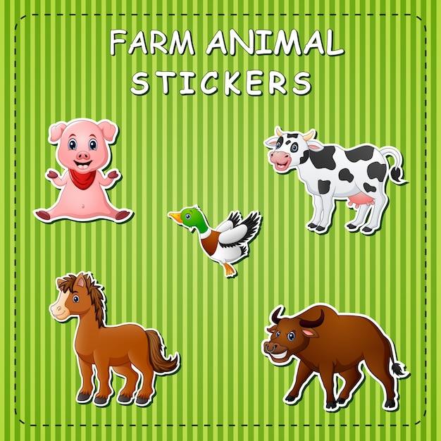Zwierzęta gospodarskie kreskówka na naklejce