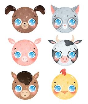 Zwierzęta gospodarskie kreskówka twarze zestaw ikon. pies, kot, świnia, krowa, koń, głowa kurczaka. emotikony zwierząt gospodarskich paczka na białym tle