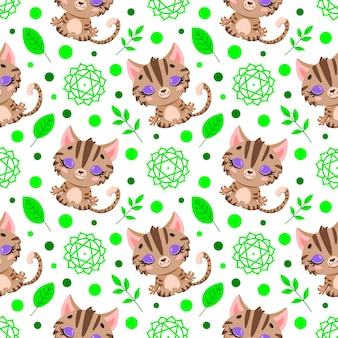 Zwierzęta gospodarskie kreskówka wzór medytacji. wzór zwierząt jogi. kot medytuje wzór.