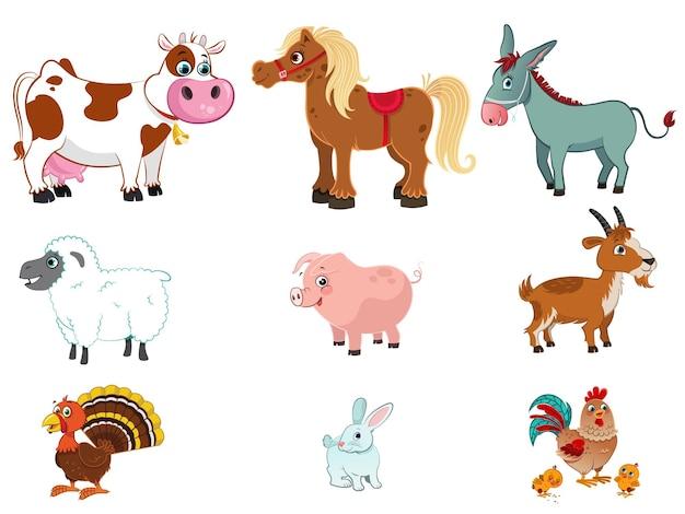 Zwierzęta gospodarskie kreskówka zestaw ilustracji wektorowych