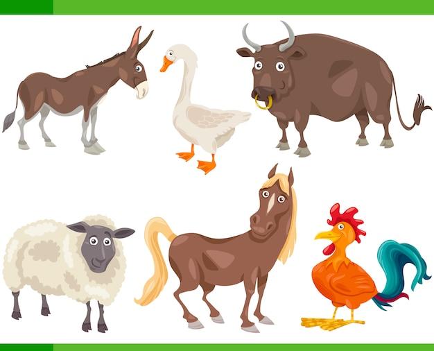Zwierzęta gospodarskie kreskówka zestaw ilustracji