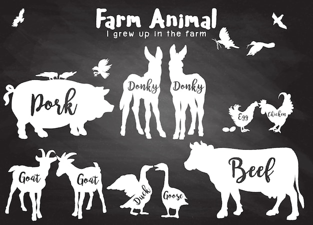 Zwierzęta gospodarskie sylwetki na białym tle
