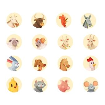 Zwierzęta gospodarskie szefowie rundy ikony kolekcja