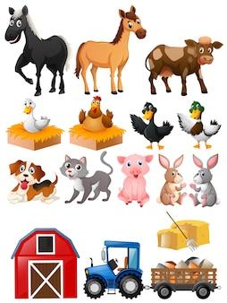 Zwierzęta gospodarskie z stodołą i ciągnikiem