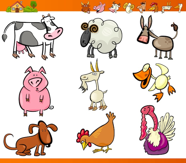 Zwierzęta gospodarskie zestaw ilustracja kreskówka