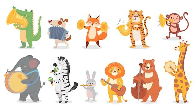 Zwierzęta grające muzykę. zestaw ilustracji cute zwierząt grających na instrumentach muzycznych.