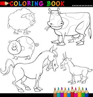 Zwierzęta hodowlane do kolorowania książki lub strony
