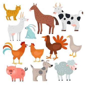 Zwierzęta hodowlane. krowa, koń i królik, pies i indyk, owca i świnia, kogut i kurczak, koza i kot, gęś wektor kreskówka na białym tle zestaw. ilustracja krowa i świnia, królik i koza, koń i indyk