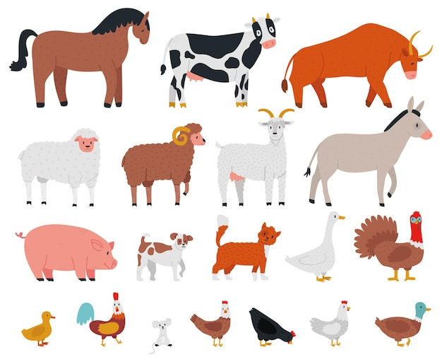 Zwierzęta hodowlane. zwierzęta gospodarskie i słodkie zwierzęta domowe, konie, krowy, byki, kozy, psy, gęsi i świnie. wioska kreskówka zestaw zwierząt domowych. krowa i królik, pies i kura, kogut