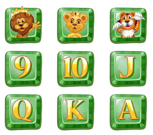 Zwierzęta i litery na zielonych guzikach