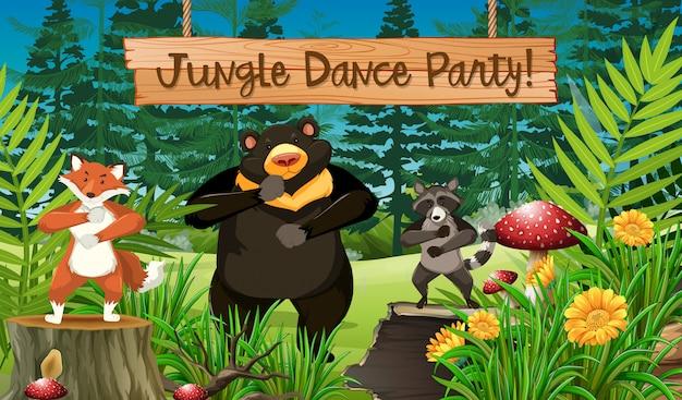 Zwierzęta i taniec w dżungli