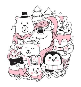 Zwierzęta i zima doodle