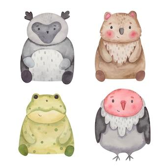 Zwierzęta indri, paskówka, kuoka, akwarela ilustracja sępa