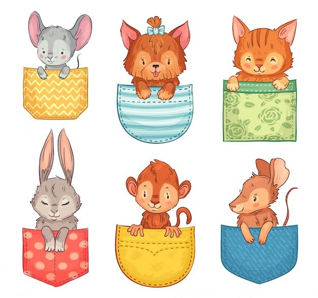 Zwierzęta kieszonkowe z kreskówek. śliczny pies, zabawny kot i królik. małpa, mysz i szczur zwierząt w kieszeniach zestaw ilustracji