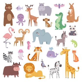 Zwierzęta kreskówek i kolekcji dzikich zwierząt