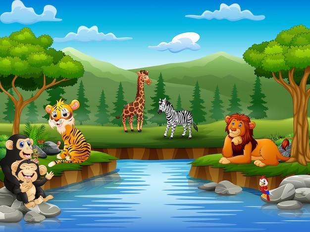 Zwierzęta kreskówki cieszą się naturą nad rzeką