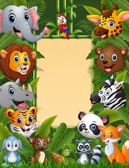 Zwierzęta las z puste miejsce znaka bambusem