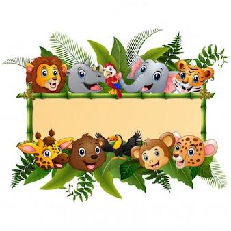 Zwierzęta lasowa kreskówka z puste miejsce znaka bambusem