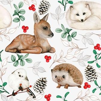 Zwierzęta leśne akwarela bezszwowe wzór delikatne kolory