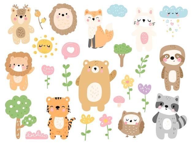 Zwierzęta leśne, ilustracji wektorowych