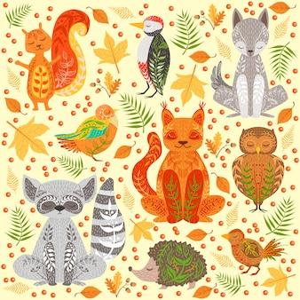 Zwierzęta leśne pokryte crative ozdoby ilustracji