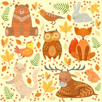 Zwierzęta leśne pokryte ozdobnymi wzorami ilustracji