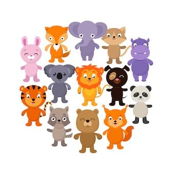 Zwierzęta leśne, savana i dżungla. zestaw znaków wektor kreskówka