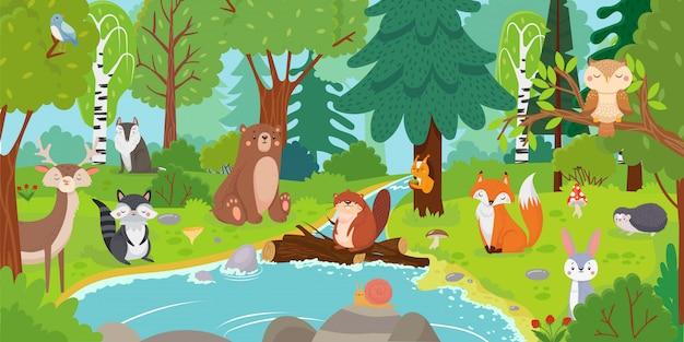 Zwierzęta leśne z kreskówek. dziki niedźwiedź, śmieszna wiewiórka i śliczni ptaki na lasów drzewach żartujemy wektorową tło ilustrację