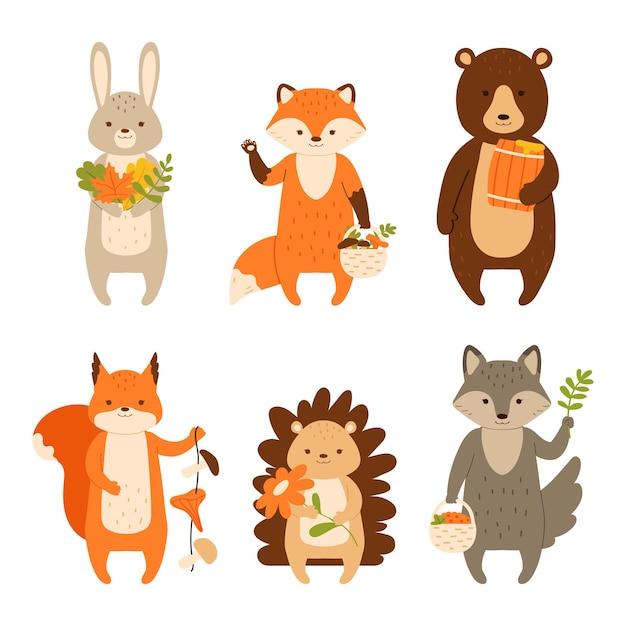 Zwierzęta leśne zestaw znaków na białym tle ilustracji wektorowych w stylu płaski