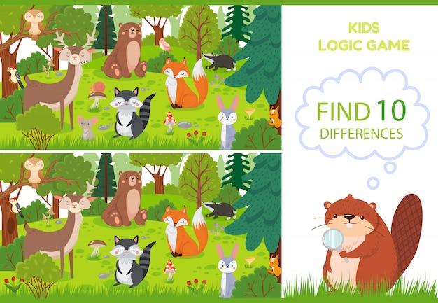 Zwierzęta leśne znajdują grę różnic. edukacyjne dla dzieci gry postaci, zwierząt leśnych i ilustracja kreskówka dzikich lasów