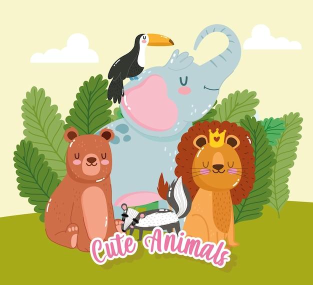 Zwierzęta lew niedźwiedź słoń kreskówka przyrody